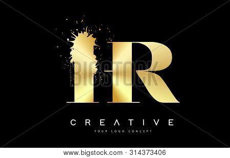 Hr H R Letter Logo With Gold Melted Metal Splash Vector Design Illustration.