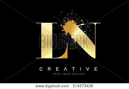 Ln L N Letter Logo With Gold Melted Metal Splash Vector Design Illustration.
