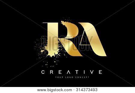 Ra R A Letter Logo With Gold Melted Metal Splash Vector Design Illustration.