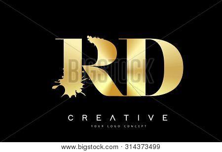 Rd R D Letter Logo With Gold Melted Metal Splash Vector Design Illustration.