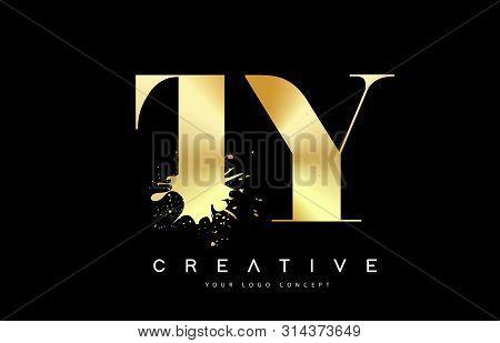 Ty T Y Letter Logo With Gold Melted Metal Splash Vector Design Illustration.