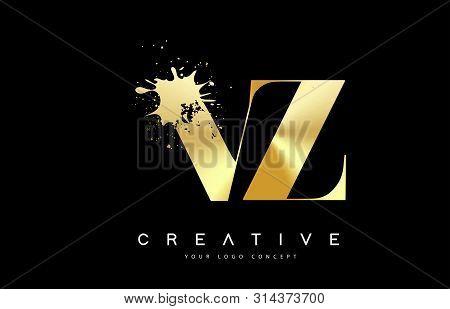 Vz V Z Letter Logo With Gold Melted Metal Splash Vector Design Illustration.