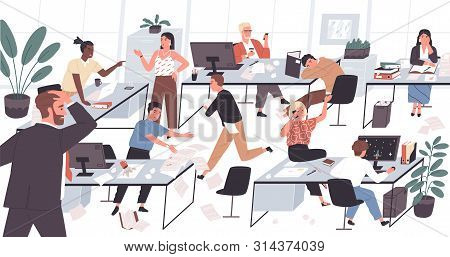 Unorganized Office With Lazy And Unmotivated Workers. Concept Of Difficulties And Problems With Orga