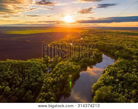 Sunset River Aerial Landscape Cinematic Drone Footage. Flying Above Dniestr River In Ukraine Or Mold