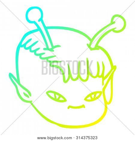 cold gradient line drawing of a cartoon alien space girl face