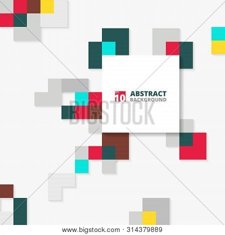 Abstract Of Colorful Square Geometric Pattern Cover. Illustration Eps10