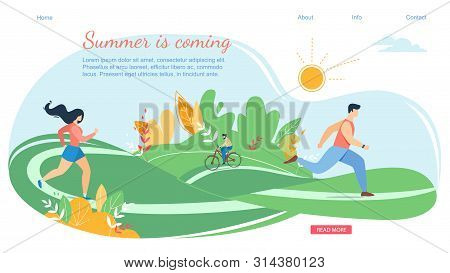 Summer Coming Horizontal Banner Scene With Active Family Vacation. Happy People Characters In Variou