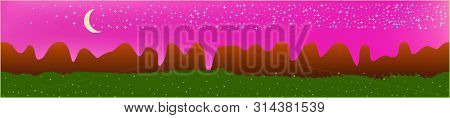 Pink Sky, And Mountains Landscape. Fairy Tale Panoramic Landscape. Landscape Fable. Breezy Glass Pri