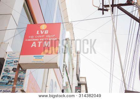 Bengaluru, India June 27, 2019 : Front View Bill Board Or Signage Of Lakshmi Vilas Bank Atm At Benga