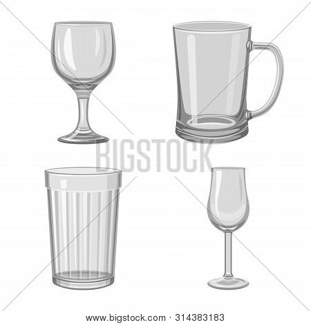 Vector Design Of Capacity And Glassware Sign. Collection Of Capacity And Restaurant Stock Symbol For