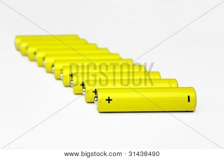 The row of batteries