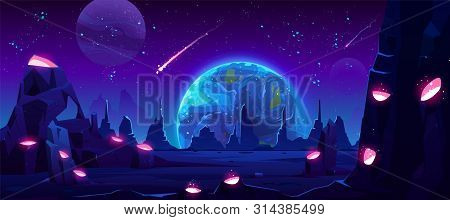 Earth View At Night From Alien Planet, Neon Space Background With Falling Meteor In Dark Starry Sky,