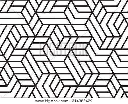 Abstract Stripes, Line Vector Seamless Pattern. Neutral Monochrome Business Background, Black White