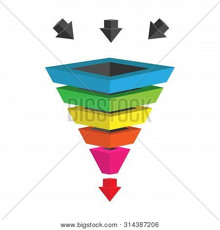 Infographics Lead Generation, Sales Funnel With Arrows For Application And Website Presentations, 3d