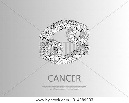 Cancer Zodiac Low Poly Abstract Illustration Consisting Of Points, Lines, And Shapes In The Form Of