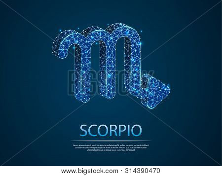 Scorpio Zodiac Low Poly Abstract Illustration Consisting Of Points, Lines, And Shapes In The Form Of