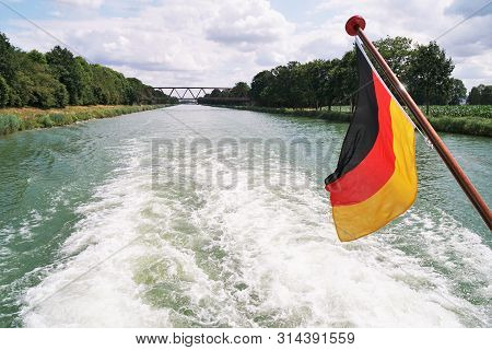 Boat Cruise On Mittellandkanal Midland Canal In Germany Between The Towns Of Minden And Bad Essen -