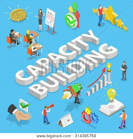 Isometric Flat Vector Concept Of Capacity Building, Process Of Skills Obtaining.