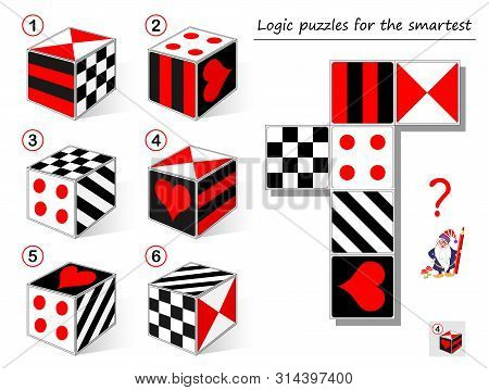 Logic Puzzle Game For Smartest. Need To Find The Cube Which Matches To The Template. Printable Page