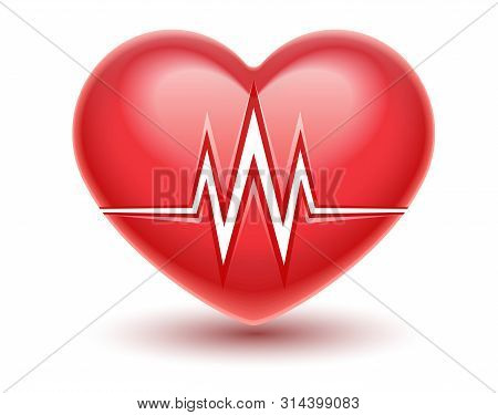 Red Heart Attack Icon With Heartbeat Cardiogram Graph Line. Realistic Medical Vector Illustration. H