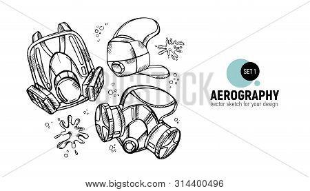 Vector Illustration Of Respirators. Aerography Tools Sketch