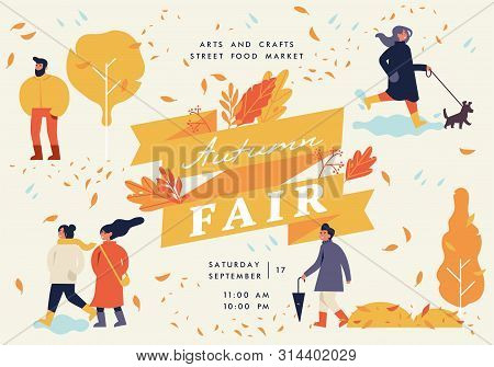 Vector Autumn Fair Poster, Flyer Or Banner Or Banner Template With People Enjoying Their Time Outdoo