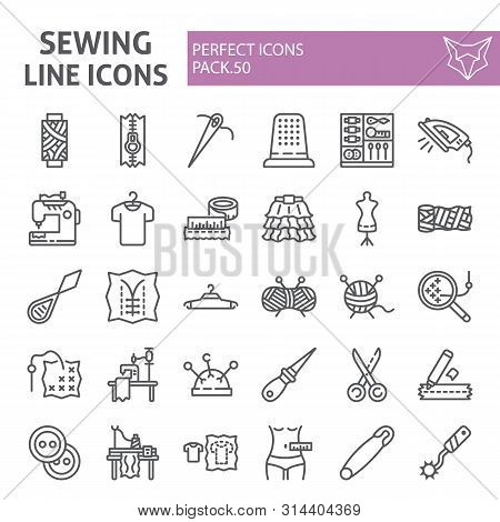 Sewing Line Icon Set, Tailor Symbols Collection, Vector Sketches, Logo Illustrations, Dressmaking Si