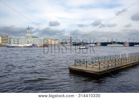 Saint Petersburg, Russia - May 25, 20197: View Of Of The Neva River, Kunstkamera, Rostral Columns, P