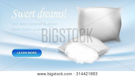 Sweet Dreams Horizontal Banner, Pillows With Hypoallergenic And Antimicrobial Protection Materials F
