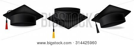 Mortarboard Collection. Graduation Cap Set Vector Realistic Illustrations