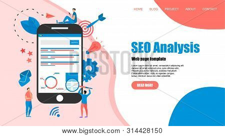 Webpage template. Seo analysis with search and magnifier on desktop. Business concept. poster