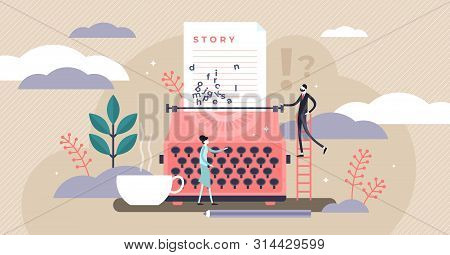 Story Vector Illustration. Flat Tiny Literature Text Author Persons Concept. Abstract Fantasy Book W