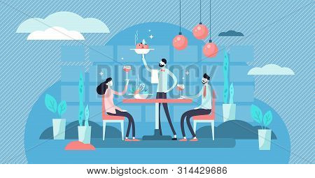 Restaurant Vector Illustration. Flat Tiny Food Eating Scene Persons Concept. Luxury Supper And Dinne