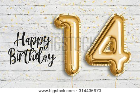 Happy 14th Birthday Gold Foil Balloon Greeting White Wall Background. 14 Years Anniversary Logo Temp