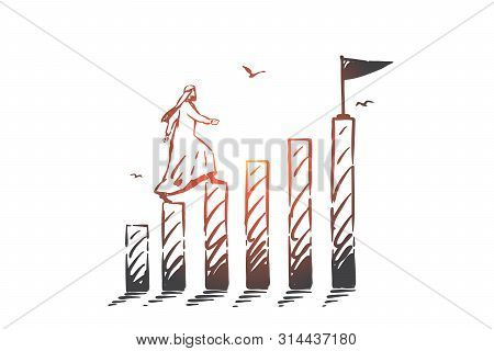 Success, Leadership Concept Sketch. Arab In Hijab Going Up On Separate Logs To Reach Final With Flag
