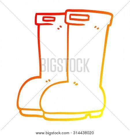 warm gradient line drawing of a cartoon red wellies