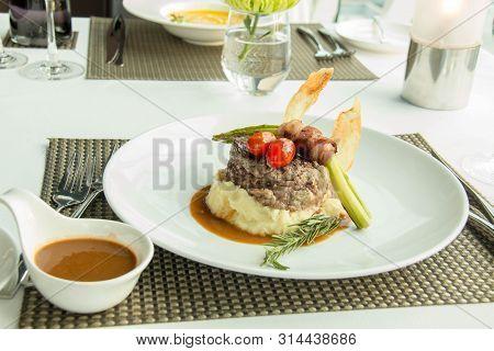 A Mint Meat Steak And Mash Potato