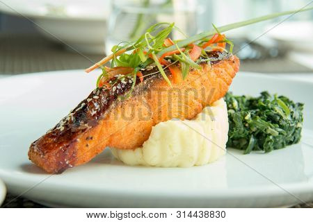A Delicious Grilled Salmon Steak And Mash Potatoes