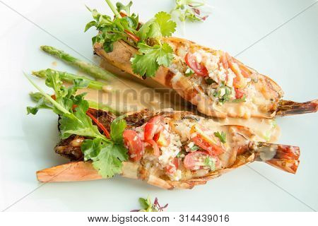 A Delicious Grilled Tiger Prawn With Sauce