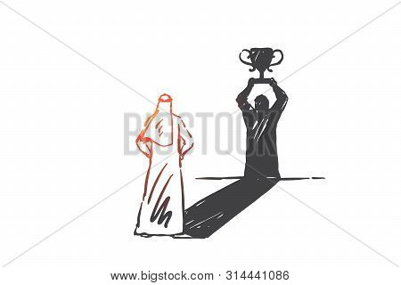 Success, Leadership, Self-confidence Concept Sketch. Arab In Hijab Standing And Looking At His Shado