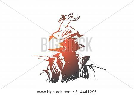 Risk, Leadership, Startup Concept Sketch. Man From Saudi Arabia Jumping Over Abyss Between Mountains