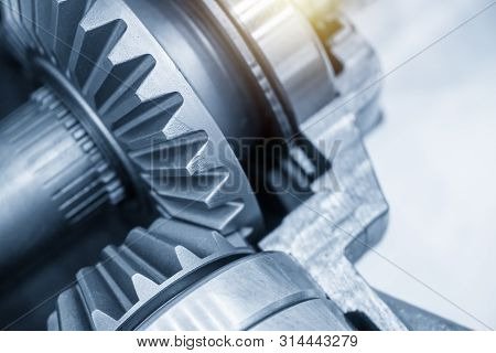 Close-up Scene Of The Differential Gear Of Automotive Transmission System.the Abstract Scene Of The