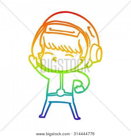 rainbow gradient line drawing of a cartoon astronaut