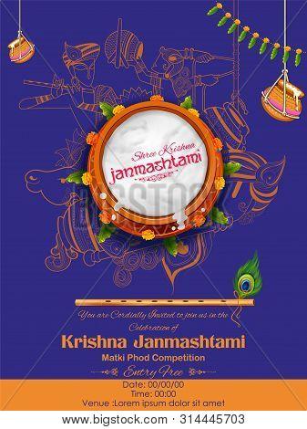 Illustration Of Dahi Handi Celebration In Happy Janmashtami Festival Background Of India