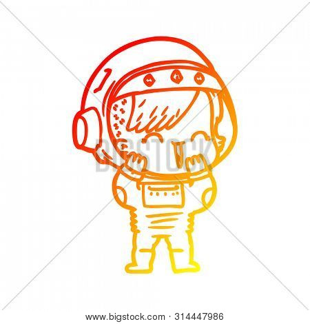 warm gradient line drawing of a cartoon laughing astronaut girl