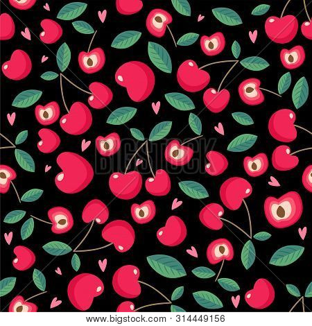 Drawing Red Cherry Seamless Pattern Background Wallpaper. Cute Red Seamless Pattern With Cherries. S