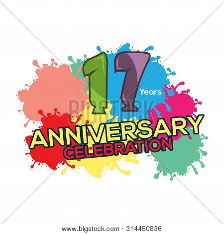 Seventeen Years Anniversary Colorful. Anniversary Template Design For Web, Poster, Booklet, Leaflet,