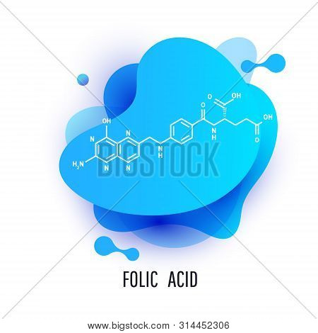 Folic Acid Structural Formula. Futuristic Trendy Dynamic Design Elements With Folic Acid Structural