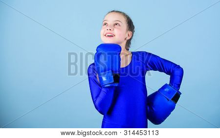 Female Boxer Change Attitudes Within Sport. Rise Of Women Boxers. Girl Cute Boxer On Blue Background
