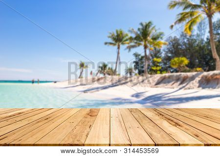 Wood Table Background Of Free Space For Decoration And Summer Landscape.wood Table With Blurred Sea